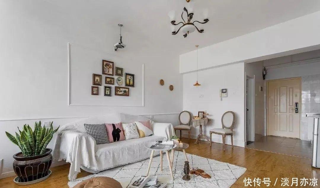 45平单身公寓,客厅投影仪太赞了,小户型完全不输豪宅
