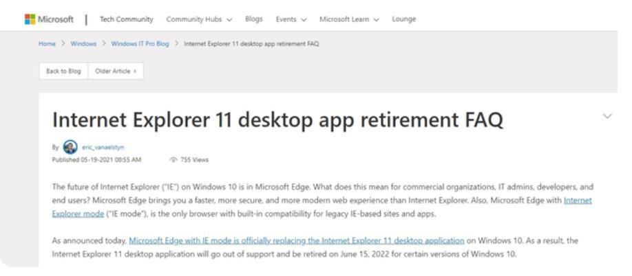 IE瀏覽器27年後終成歷史!微軟官宣2022年停止服務,你曾用過嗎?