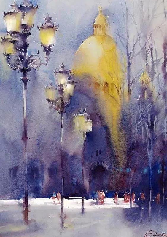 淋漓|【水彩欣赏】水色淋漓的画作,她将对比色表现到极致