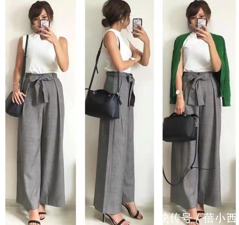 日本小姐姐的闊腿褲穿搭太高級,簡約又優雅,每一套都可照著穿