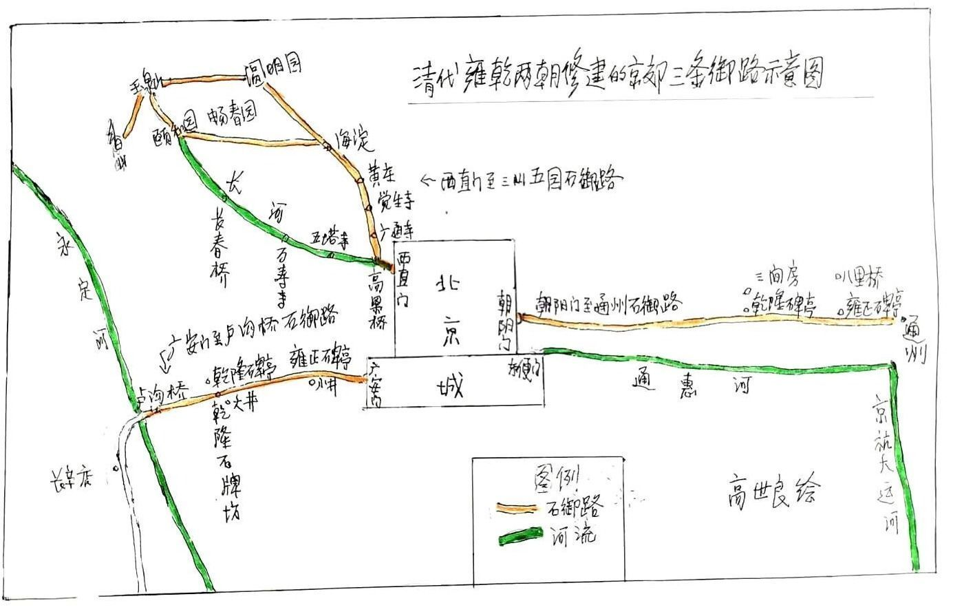 """朝阳门 清代京郊的三条""""石御路""""分别起什么作用?"""