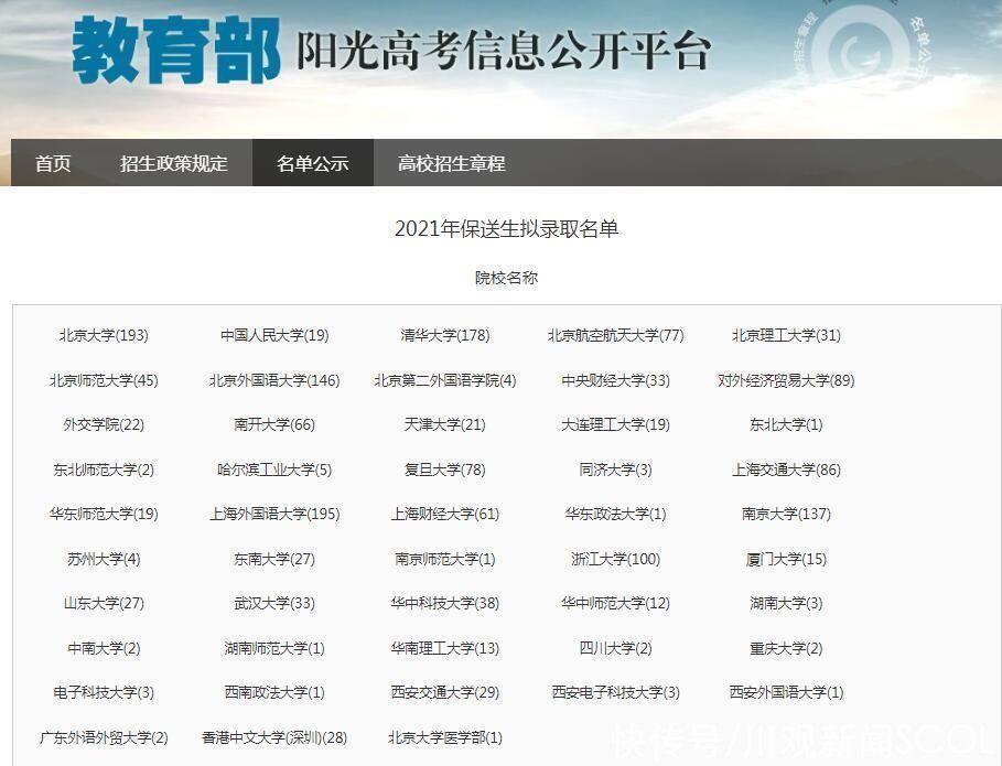 邓翔沣|全国保送生拟录取1879人,四川有97人进入名单