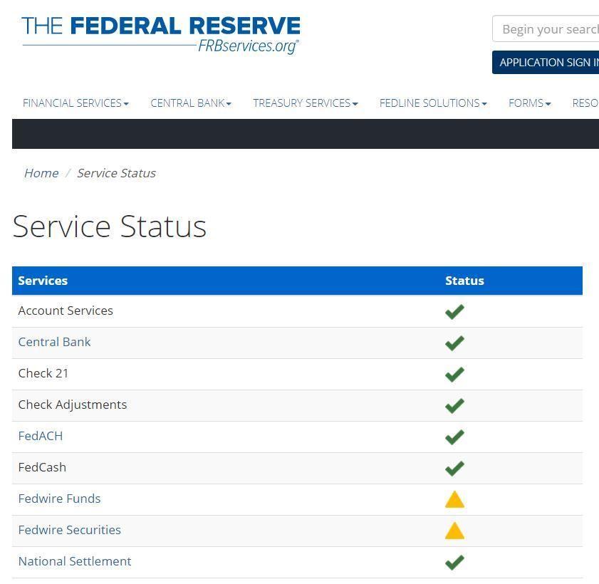 美聯儲發生大范圍服務中斷持續約四小時:系操作失誤,已恢復