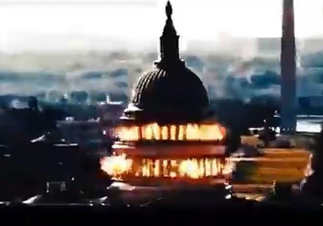 """用這種方式""""報復""""?伊朗發佈美國會大廈被該國導彈炸成火海視頻"""