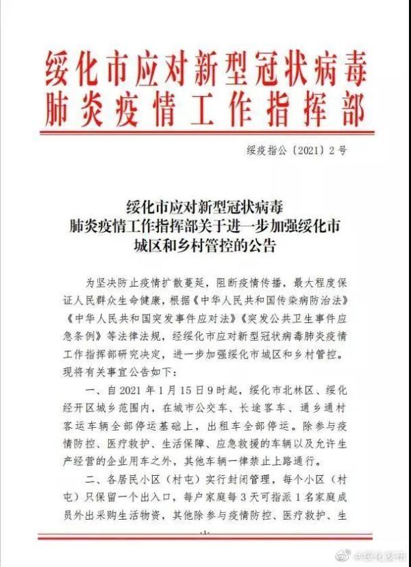 小區(村屯)封閉管理!黑龍江綏化最新通告