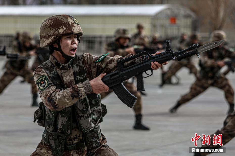 西藏軍區某特戰旅開展刺殺操訓練礪血性