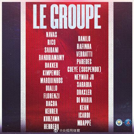 巴黎公布歐冠大名單