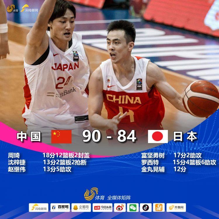 亞洲杯預選賽:周琦復出砍18分12籃板 中國男籃90-84逆轉戰勝日本隊