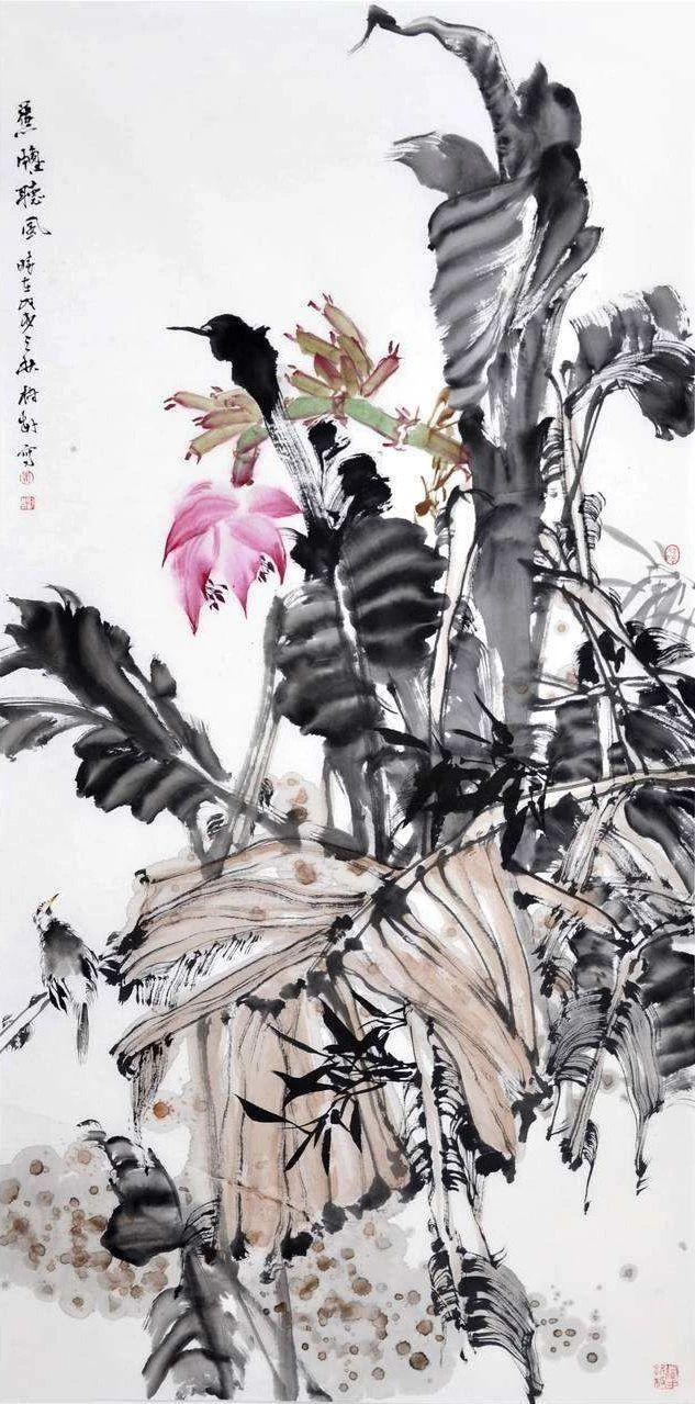 """他的花鸟画追求朴茂的绘画之风,给人的第一印象是""""新"""""""