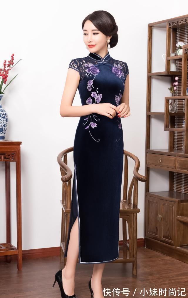 花纹|长款旗袍那么多花色,你知道自己适合穿什么颜色吗,快来选选吧!
